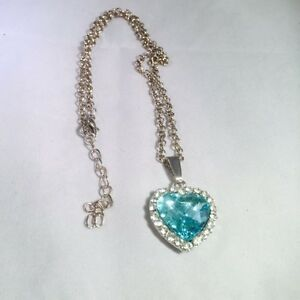 New Ocean Heart Blue Crystal Necklace-Ext Chain -  AUS SELLER