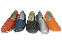 Ladies Leather Shoes Cherry Scale Black Navy Red Pewter Orange 5-10 Slip on New