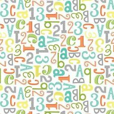 "Wilmington White Alphabet Baby Flannel 100% cotton 44"" Wide Multi Color"
