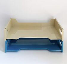 Vintage Blue Beige Plastic Office Paper Trays Desk Organizer Eldon Canada