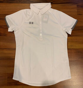 NEW Under Armour UA Women's Rival Short Sleeve Polo Golf Small S White 1306686