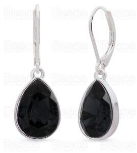 LEVER BACK 925 silver plated JET BLACK DROPPER EARRINGS fashion jewellery UK