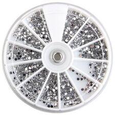 3000 Pcs Crystal Glitter Rhinestone Nail Art Tips Decoration 2mm+Wheel Beauty LW