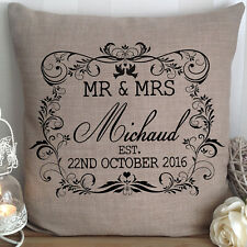 Personalised Wedding Gift Cushion Canvas Mr and Mrs Present Anniversary Newlywed