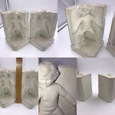 Vintage Pair Of Children Book Ends Bookends Plaster White