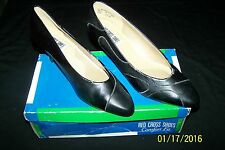 Vintage Red Cross Shoes Comfort Fit 7.5 Wide Black 2 inch heel Textured design