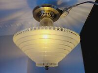 Superb Art Deco Vintage Ceiling Lamp Fixture Glass Chandelier Light Wow 1930'