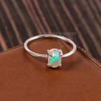 Natural Ethiopian Opal Solid 925 Sterling Silver Handmade Ring Size - 6.5 R-536