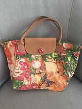 Lonchamp Paris Limited Edition Garden Foo Le Pliage Tote Handbag Canvas/Leather