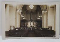 RPPC Interior Church View Real Photo 1920's Postcard C8