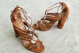 Aquazzura Tulum Fringed COGNAC Bohemian Studded Suede Sandals Heels Size 41