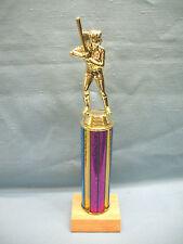 Female Softball trophy wood base fuchsia and blue column