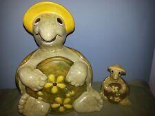 Vintage 1974 Handmade Ceramic set of Turtles w hat & flowers Greens and Yellow