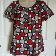 Bay Studio Retro Chic Button Cotton Boho Blouse Red Black Gray White Smock P/M