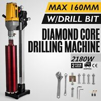 160mm Diamond Core Drill Drilling Machine 2180W W/Stand Press Drilling + Bits