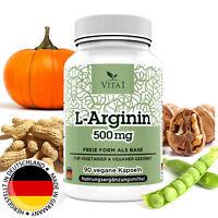 L-Arginin 90 Kapseln Tabletten hochdosiert 500mg Hergestellt in Deutschland