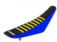 Husqvarna TE TC 2016 Blue Black Yellow Ribs Gripper MX Seat cover made by Enjoy
