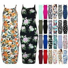 Womens Floral Flower High Neck Bodycon Dress Ladies Thin Strap Cami Midi Dress