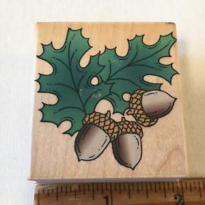 Acorns Oak Leaves Hero Arts  Autumn Fall Rubber Stamp