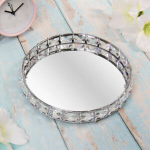 Silver Round Crystal Diamond Mirrored Decorative Candle Jewellery Ornament Tray