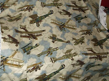 BRAEMORE FABRIC IN FLIGHT ANTIQUE WOODEN BIPLANE PROPELLER PLANE AIRPLANES 8 YDS