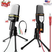 3.5mm Microphone Mic Condenser Recording Studio Tripod Stand For Laptop PC Phone