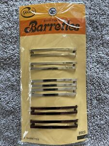 6 Goody Stay Tight Barrettes Vintage 1975 Metal #8903 New Old Stock 70s USA Made