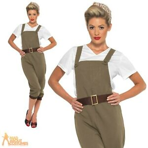 1940's Land Girl Costume Ladies WW2 Munitions Fancy Dress Army Outfit Womens