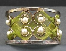 Vintage Green Faux Pearl Cuff Bracelet