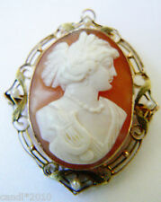 VTG 10k Gold Seed Pearls Framed Gorgeous Cameo Pin Brooch Pendant AHA
