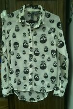 Fun & Flirt Blouse Shirt hi-lo hemline sheer long sleeve  cream black skulls (S)