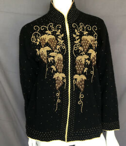 Vintage 1960s 60s Beaded Soutache Cape 1960s Inky Black Wool Embroidered Sequin Bead Sweater Ribbon Victorian