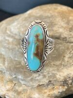 Native American Navajo Sterling Silver Blue Turquoise Ring 10.5Set Gift 260 Sale