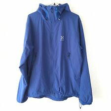 Men's HAGLOFS Boa Hooded Outdoor Stretch Softshell Jacket Coat Blue Men XL