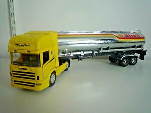 """LARGE 18"""" LONG SHELL TRUCK TANKER LORRY DIE CAST TRUCK WITH PLASTIC FUEL TRAILER"""