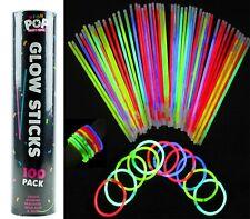 100 neon glow in the dark sticks rave festivals party