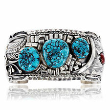 $2450Tag Collectable Certified Silver Navajo Coral Turquoise Signed Cuff Bracel