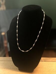 """Vicenza Silver Sterling 24"""" Diamond Cut Bead Station Necklace"""