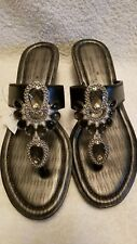 Montego Bay Club Wedge Sandals Ornate Gemstone Flipflops Size 7 New