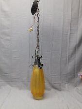 Vtg 70s Retro Pendant Ceiling Light Fixture Amber crackle Glass Shade 163-17E