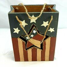 Primitive Wooden Puzzle Blocks Stackable 4th of July Adorable Vintage Image