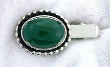 Cabochon Silver Color Tie Clip Bar Eptt310 1 1/2 Inch 18x13 Oval Green Agate