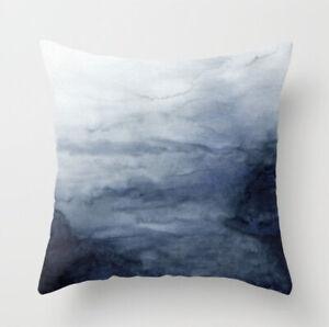 Blue abstract watercolour cushion cover, navy pale, scandi landscape, sea, ocean