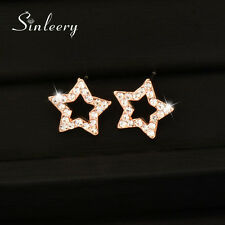 Cute Shining Crystal Hollow Star Stud Earring Rose Gold Plated Fashion Jewelry