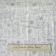 Christmas Fabric - Crystal Palace Winter Words Gray on White - StudioE YARD