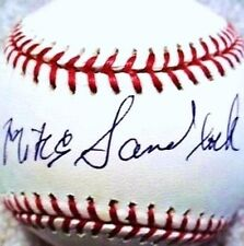 MIKE SANDLOCK (D.2016 @ 100) (BRAVES DODGERS PIRATES) SIGNED OML BASEBALL JSA