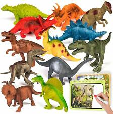 12 Pcs Realistic Dinosaur Toy Figures with 2 Magic Dinosaur Books and 2 Pens