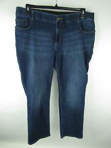 Riders By Lee Women Plus 22W Blue Cotton Blend Dark Wash Stretch Straight Jeans