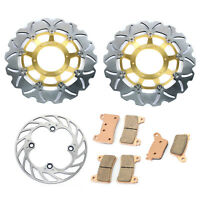 Front Rear Brake Discs Rotors Pads Gold for Honda CBR 600 RR CBR600RR 2007-2015