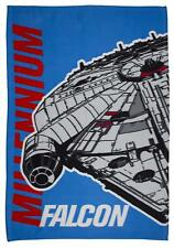 "STAR WARS ""AWAKEN"" MILLENIUM FALCON FLEECE BLANKET Kids Bed Throw Disney"